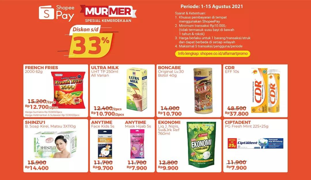 Katalog Produk Promo ShopeePay Murmer Alfamart 1-15 Agustus 2021