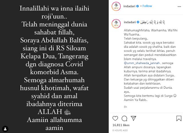Soraya Abdullah Meninggal Dunia Usai Dinyatakan Positif Corona, Umi Pipik: Innalillahi