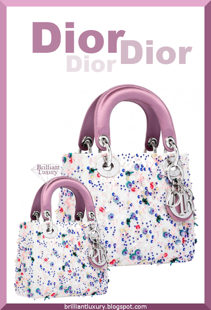 Dior Lady Dior Bag white and pink embroidered handbag #brilliantluxury