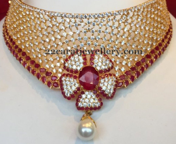Diamond Choker with Ruby Rose Motif
