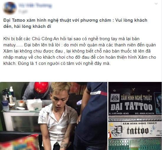 Thực hư vụ thợ xăm Quảng Ngãi bán ma túy giúp khách xăm hình giảm đau?
