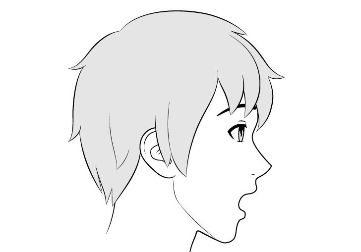 Tampak samping wajah pria anime gambar ekspresi terkejut