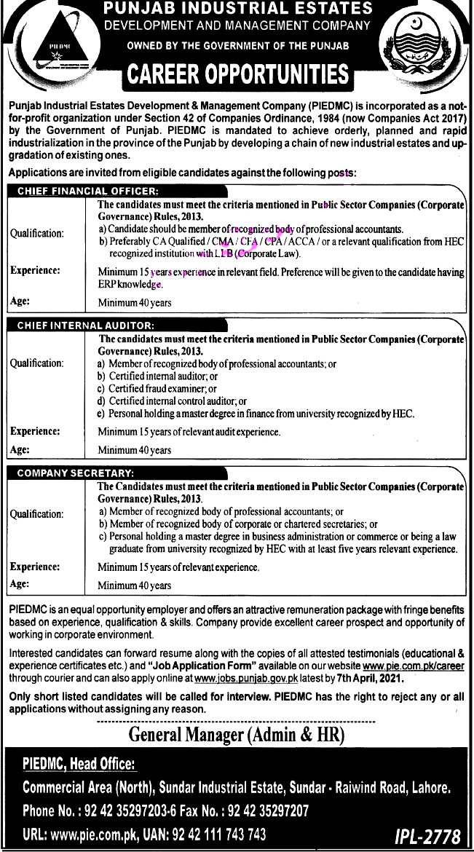 Latest Jobs in Punjab Industrial Estates Development  And Management  Company PIEDMC 2021