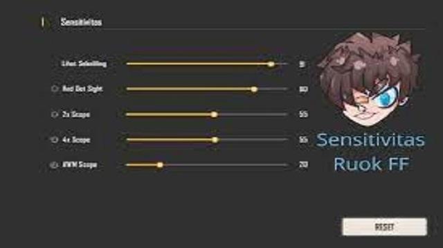 Cheat Ruok FF Sensitivity Semua Senjata