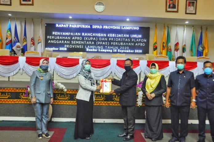 DPRD Provinsi Lampung Gelar Paripurna Penyampaian KUPA dan PPAS Perubahan APBD TA 2020