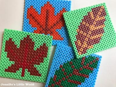 Hama bead Autumn leaf coasters design patterns