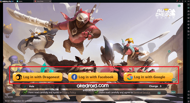 Login akun Dragonest Facebook Google Main Game Auto Chess Android PC Komputer Laptop Memu Player