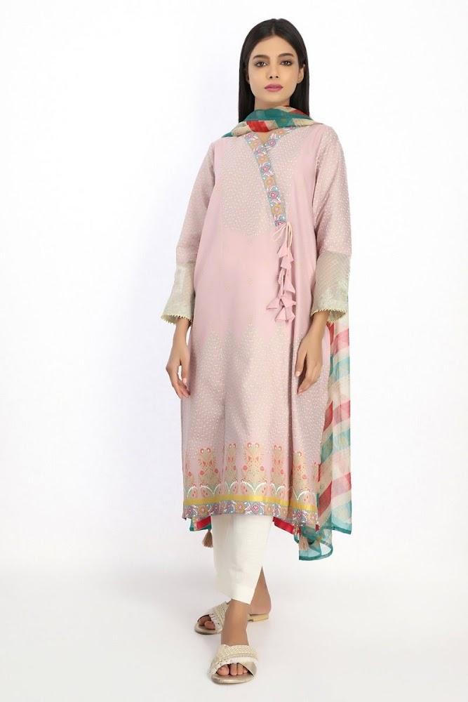 Khaadi embroidered kurta with pink color dupatta
