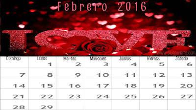 Calendario Febrero 2016 medidas1366x768