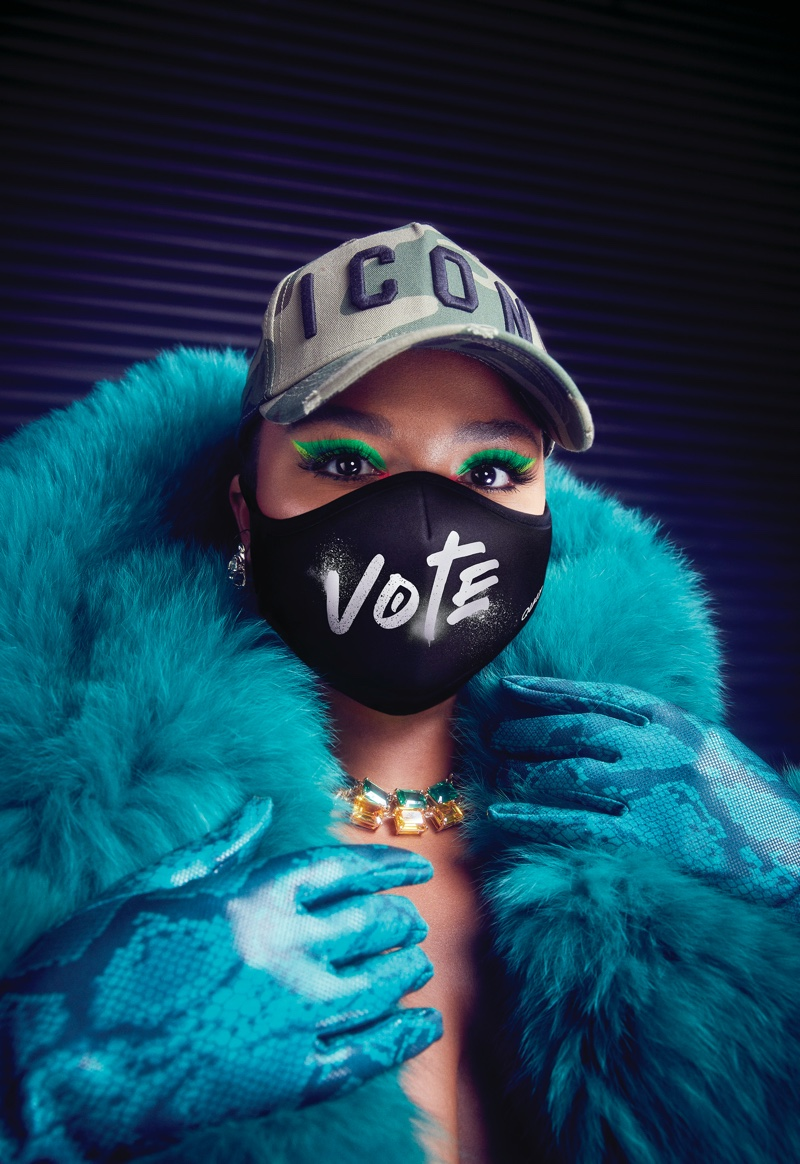 Lizzo poses in special Vote mask for Quay Australia.