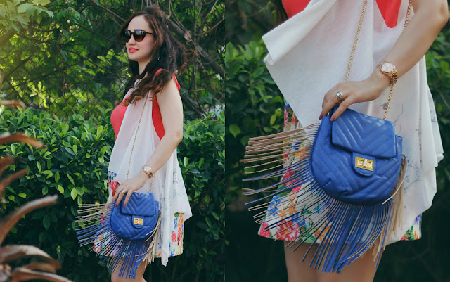 Coral Top, Floral Skater Skirt, White Cape, Fringe Bag, Women's Summer Fashion,Shoppers Stop Spring Summer Collection 2016