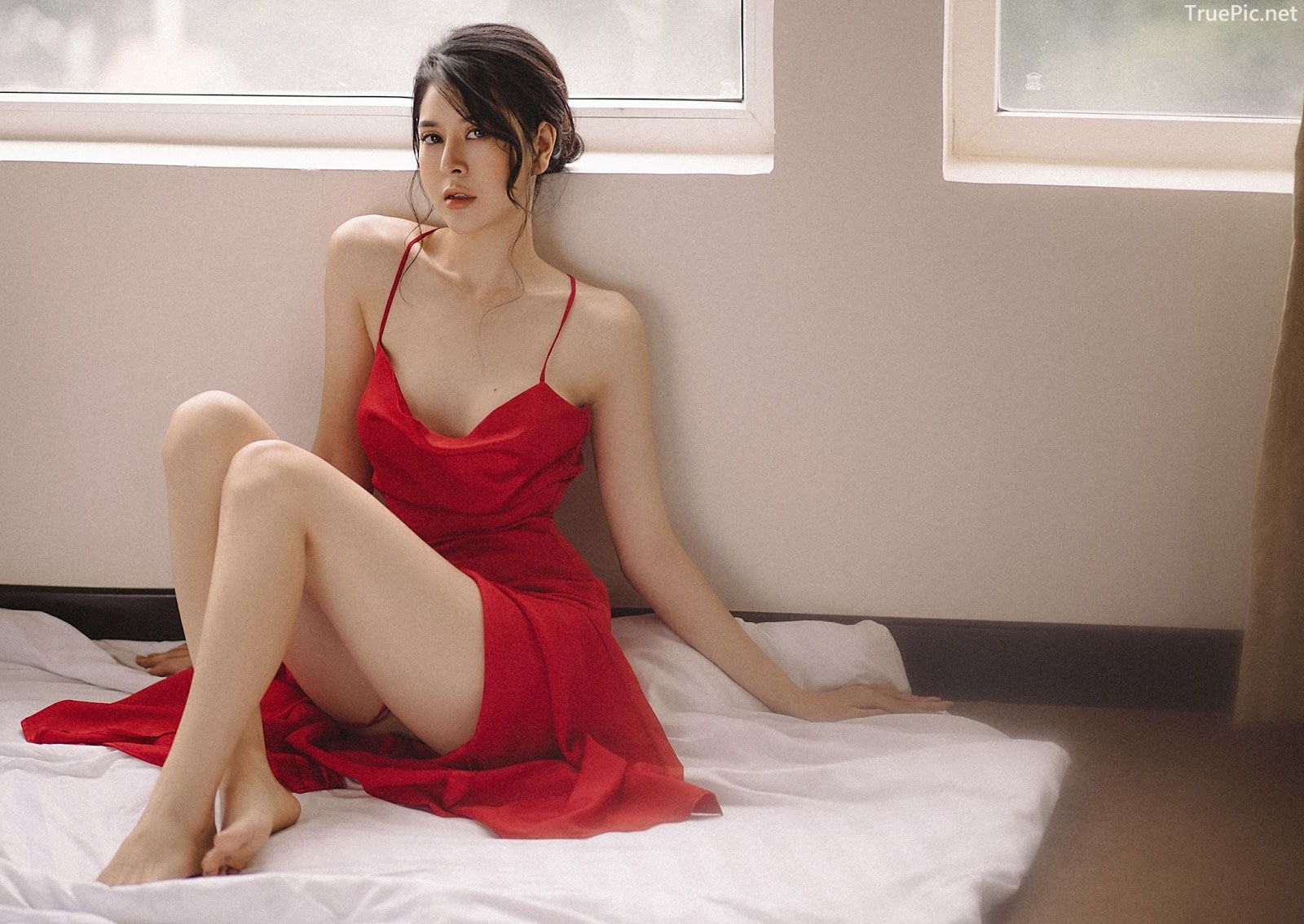 Vietnamese hot model - The beauty of Women with Red Camisole Dress - Photo by Linh Phan - Picture 1