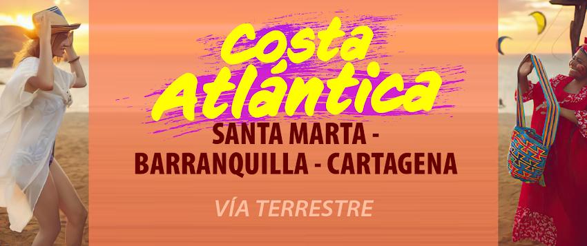 COSTA ATLÁNTICA 4 NOCHES - VÍA TERRESTRE  SANTA MARTA – BARRANQUILLA – CARTAGENA.