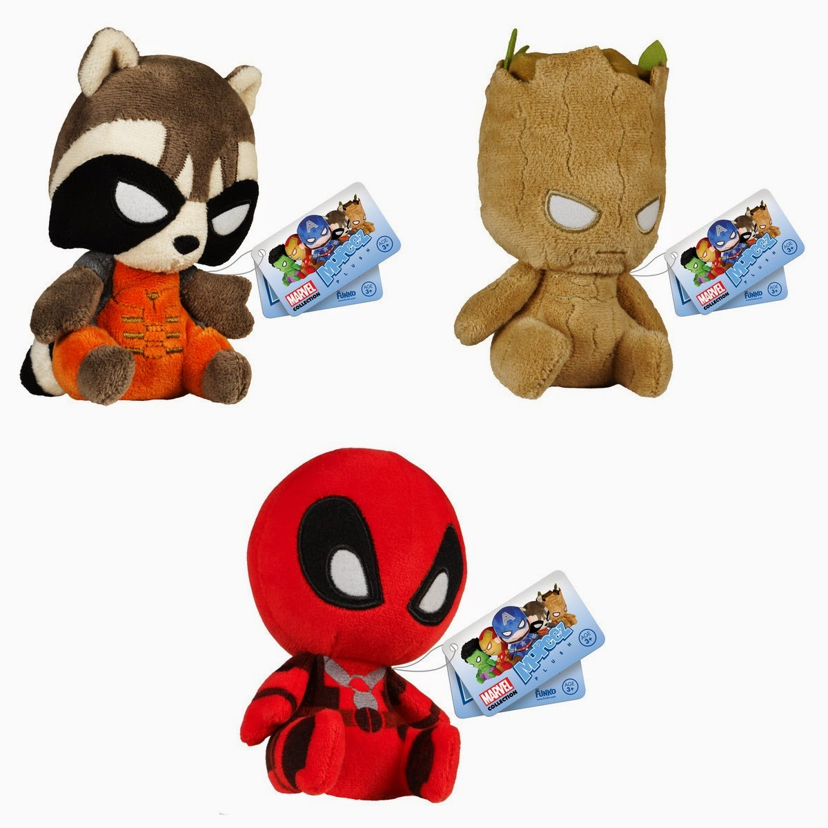 Marvel Mopeez Plush Figures by Funko - Rocket Raccoon, Groot & Deadpool