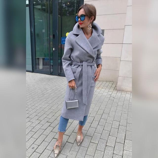 Γυναικείο  γκρι παλτό GALENIA