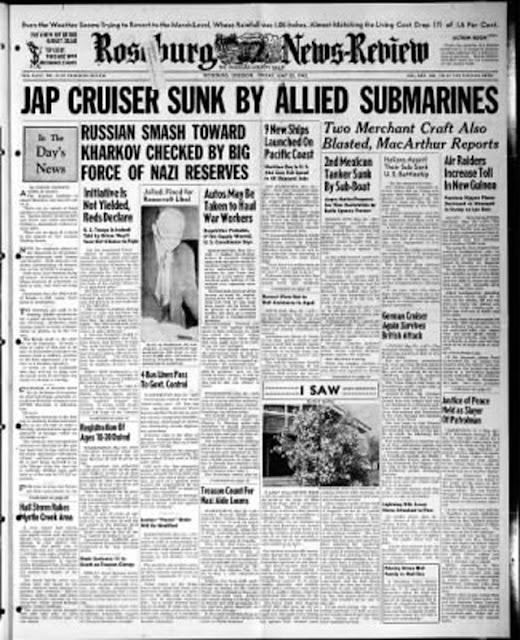 Roseburg, Oregon, News-Review, 22 May 1942 worldwartwo.filminspector.com