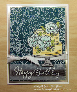 Birthday Card made with Stampin'UP!'s Breathtaking Bouquet and Happy Birthday to You stamp sets. Heat embossed Sentiment on Vellum. with Frosted Epoxy Droplets flower centers.