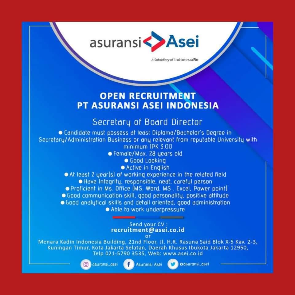 Lowongan Kerja PT Asuransi ASEI Indonesia Juli 2020