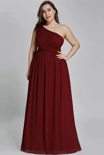 burgundy one shoulder prom dress