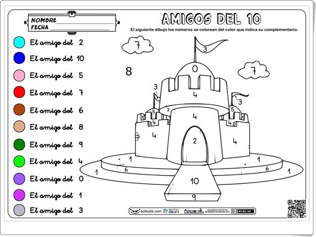 """""""Amigos del 10"""" (Colorea el castillo)"""