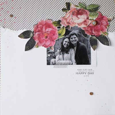 Black and white and florals, 12 x 12 scrapbook page, In The Scrap, Maggie holmes