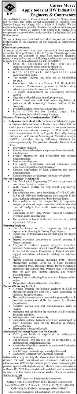 HW Industrial Engineers & Contractors Jobs 2021 in Pakistan