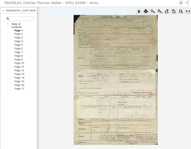 Screen capture of Archive New Zealand military service file for Charles Thomas Walter McKinlay
