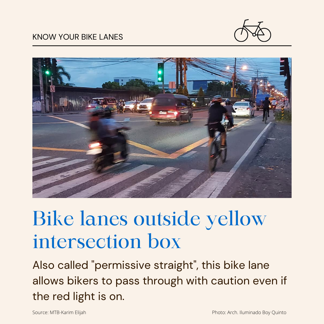 """Bike Lanes Outside Yellow Intersection Box - Also called """"permissive straight"""", this bike lane allows bikers to pass through with caution even if the red light is on."""
