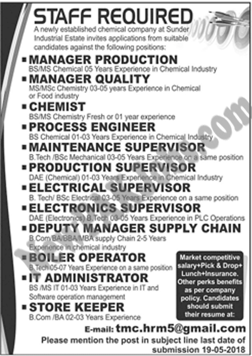 Jobs in Sundar Estate in a Chemical Company  Various Posts Apply via Email