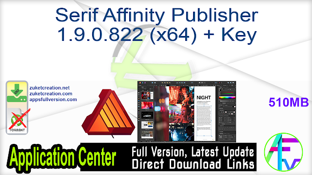 Serif Affinity Publisher 1.9.0.822 (x64) + Key