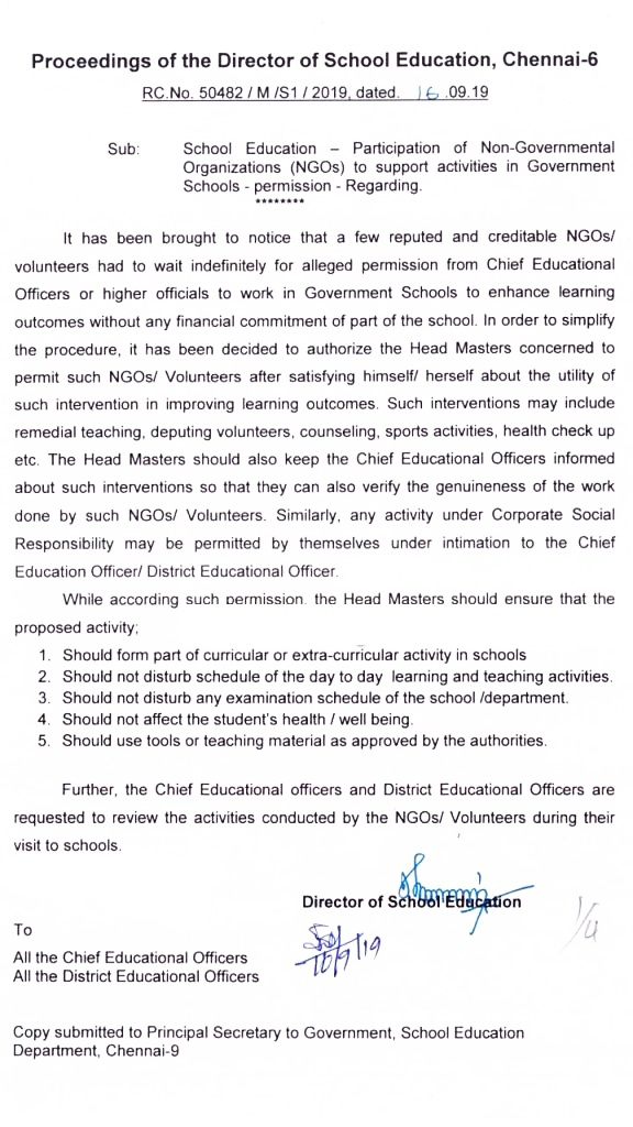 NGOs to Support Activities in Government Schools - Permission Regarding - School Education Director Proceedings