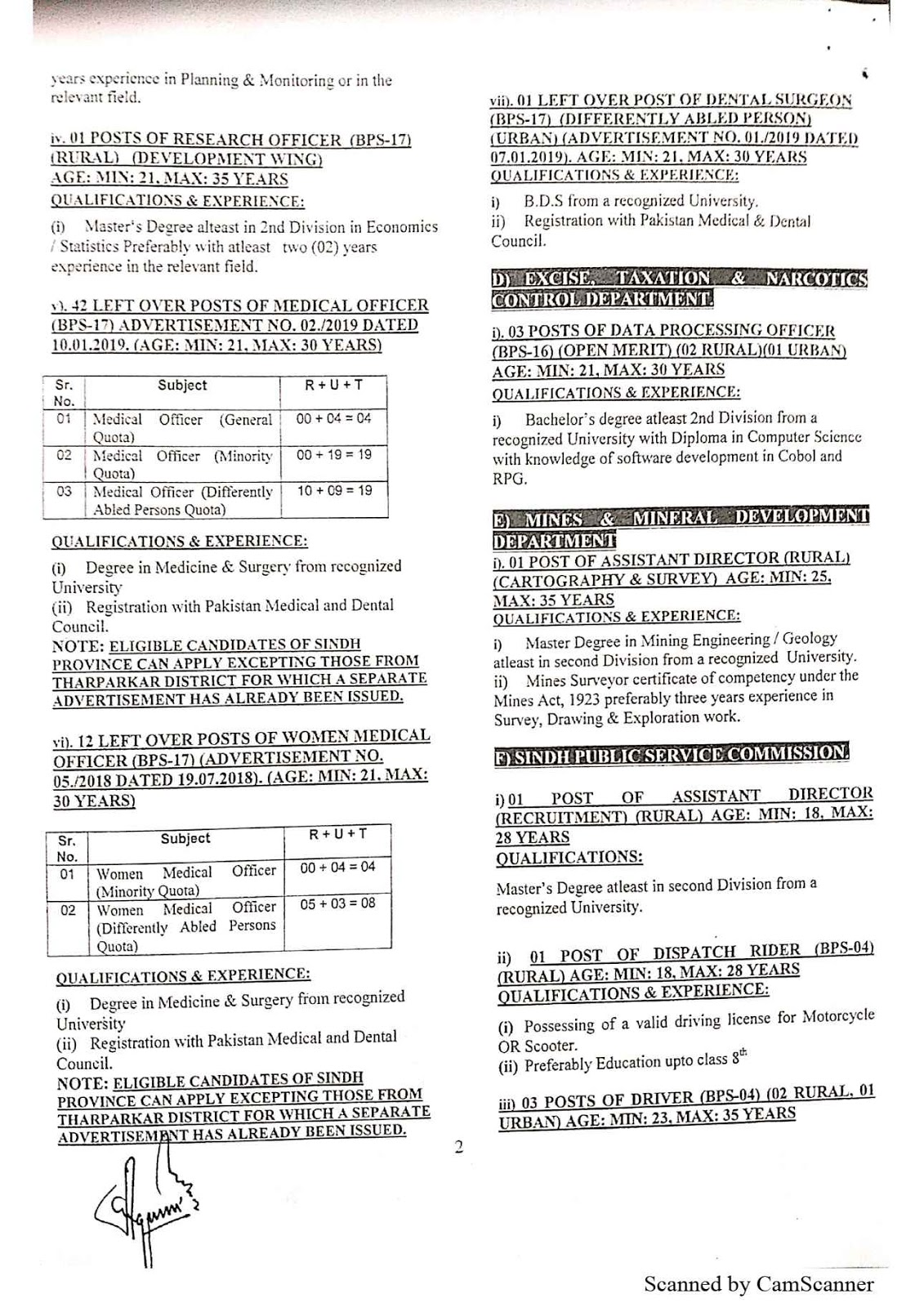 SPSC – SINDH PUBLIC SERVICE COMMISSION (AD NO. 01/2020) Latest Jobs Advertisement – Apply Online
