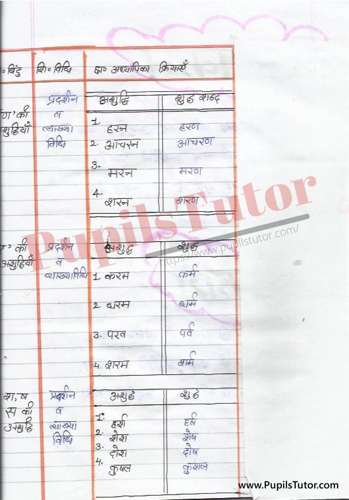 हिंदी पाठ योजना वर्तनी