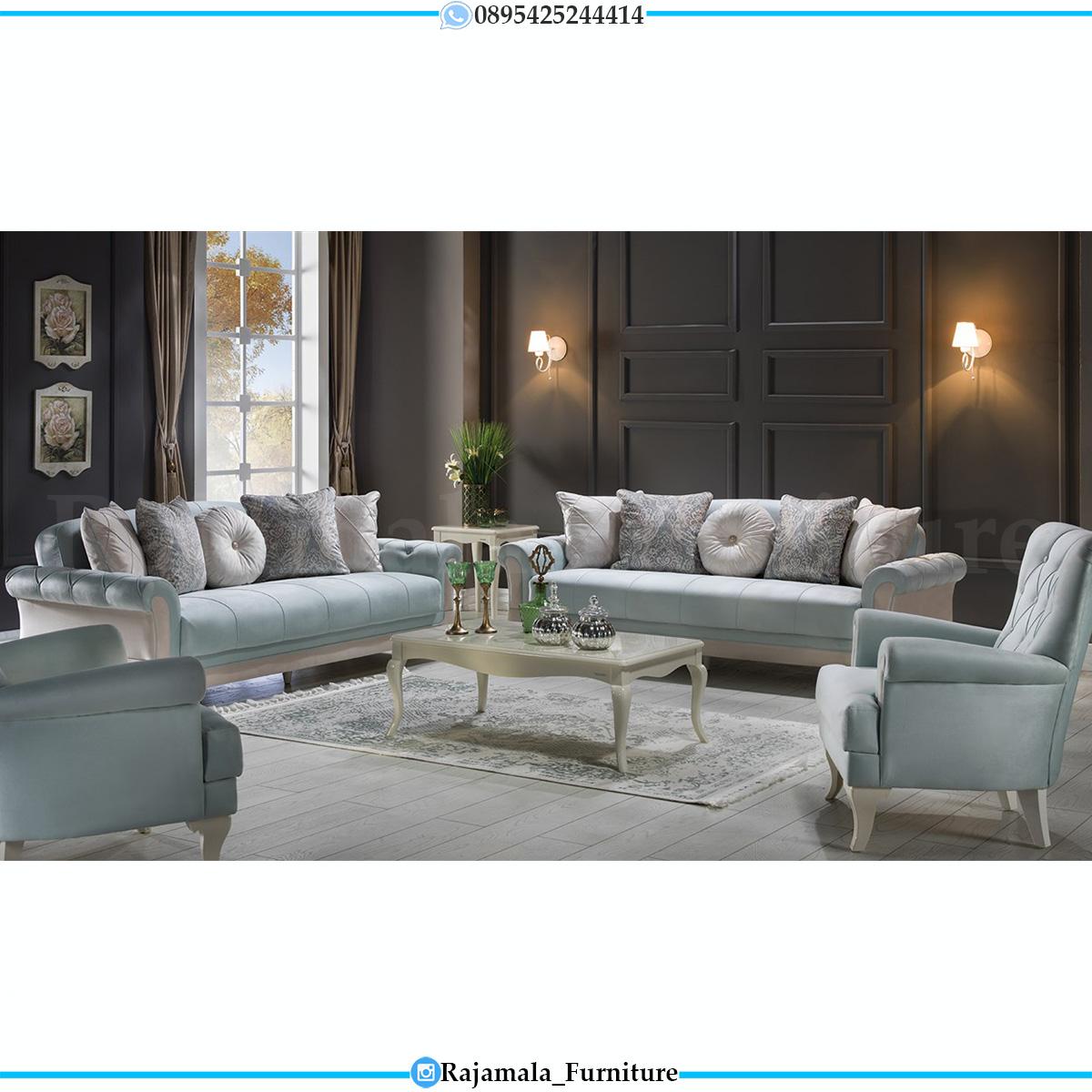 Set Sofa Minimalis Jepara Soft Beludru Fabric Blue Sky Color RM-0740