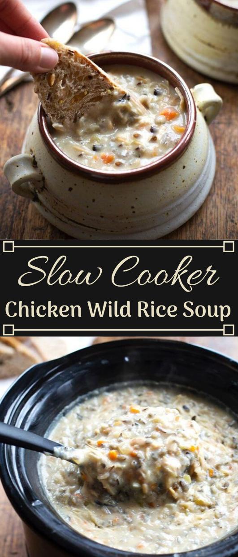 Crockpot Chicken Wild Rice Soup #soup #dinner #rice #healthyrecipes #easy