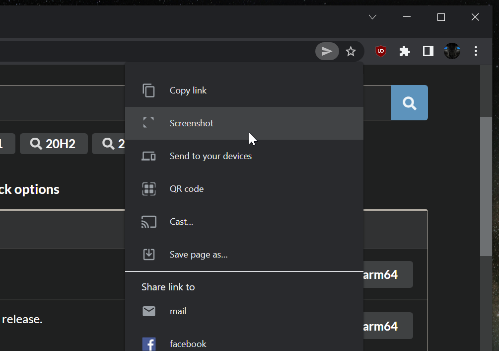 Google Chrome Finally Tests Adding A Built-in Screenshot Capturing Feature Under Share Menu On Desktop