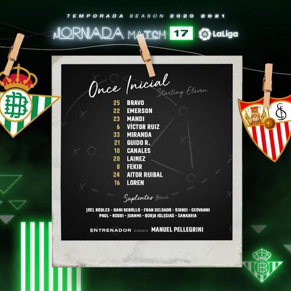 Betis - Sevilla, alineaciones oficiales