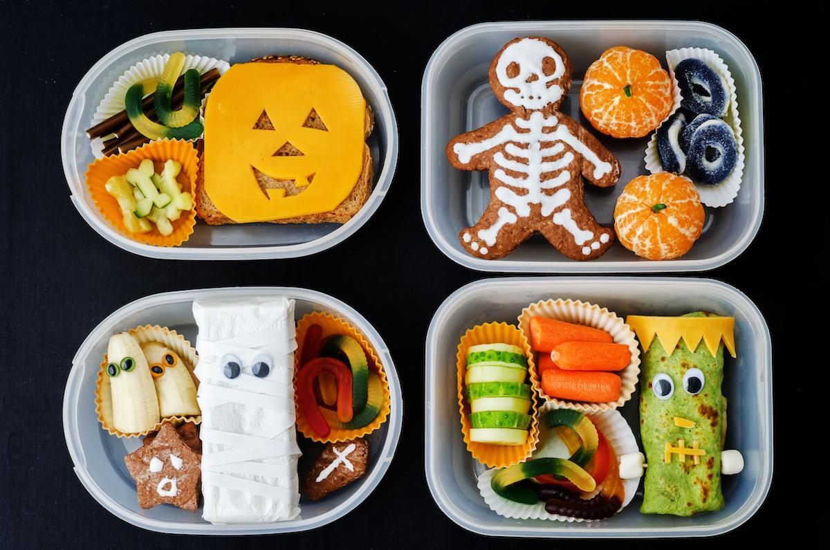 4 propuestas de almuerzo para halloween en tartera de plástico duro