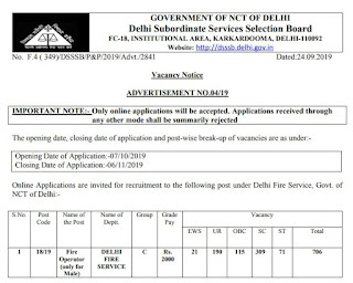 DSSSB Fire Operator Old Question Papers Download and Syllabus 2019