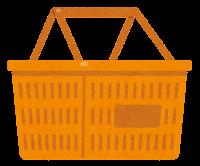 買い物かごのイラスト(オレンジ)