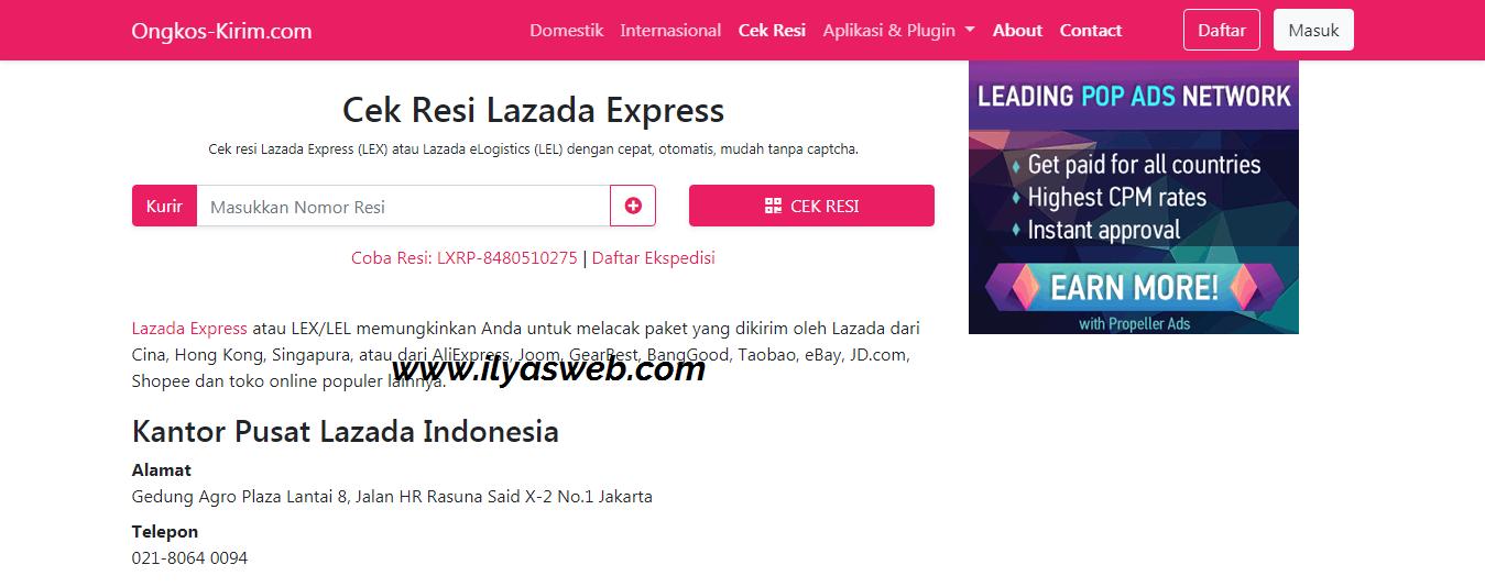 Cara Cek Resi Lazada Lel Express Lex Id Lgs