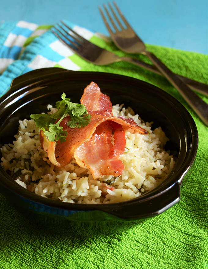 spinach and bacon rice
