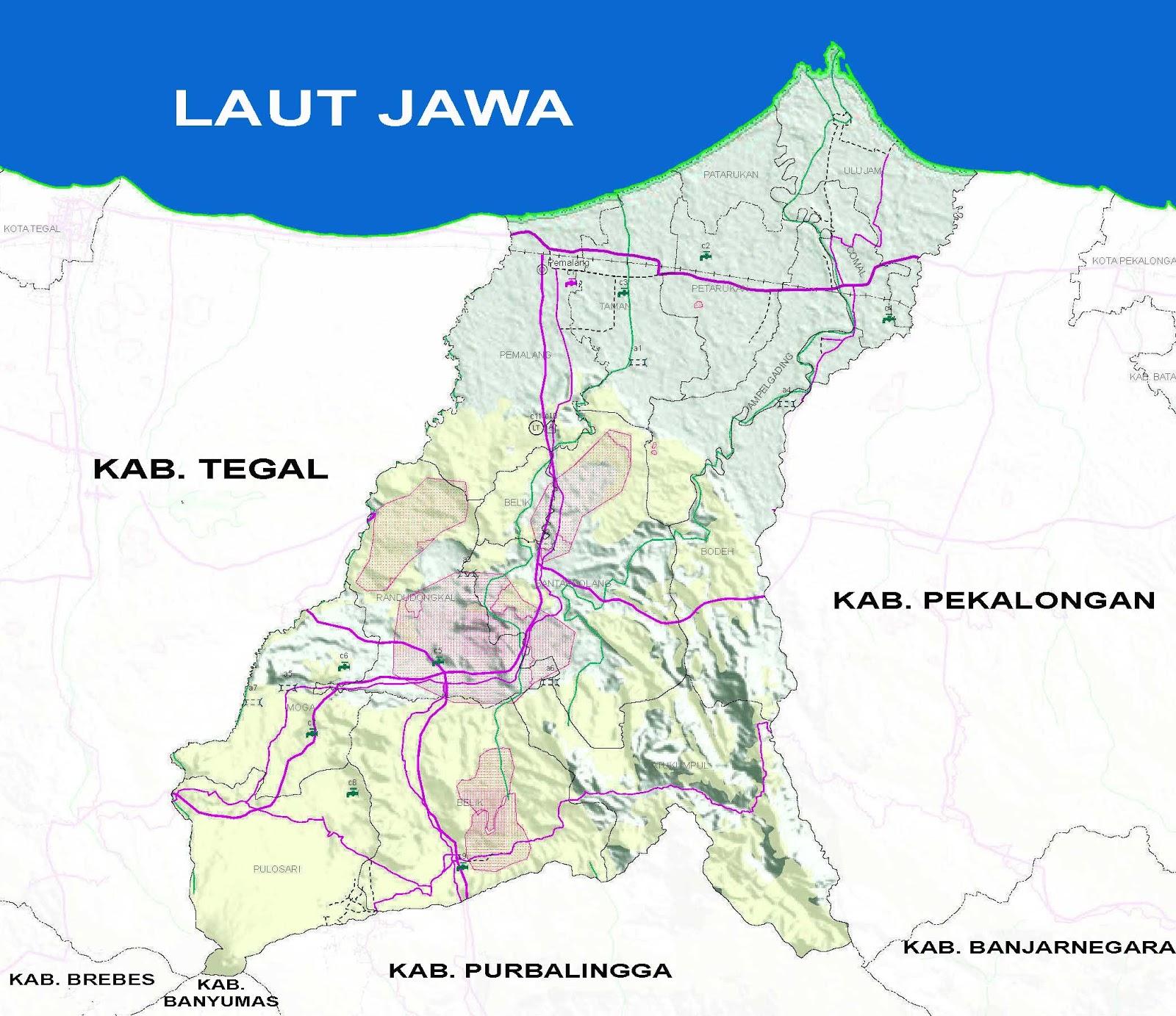 Peta Kabupaten Pemalang Lengkap 14 Kecamatan | Sejarah and ...