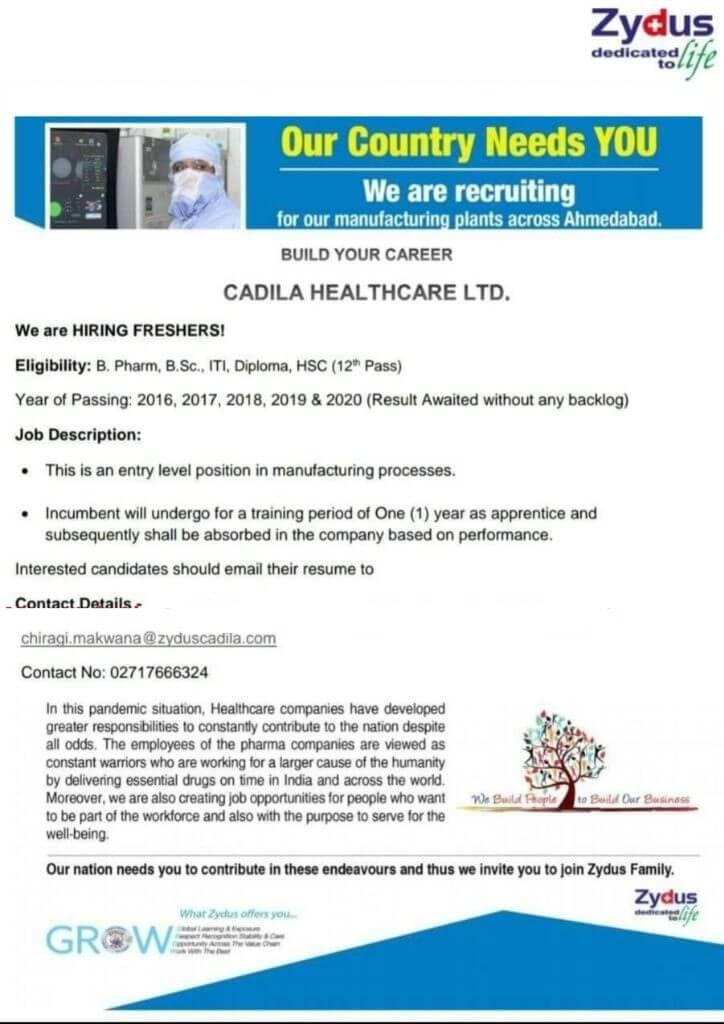Cadila healthcare Ltd hiring freshers B pharm BSc ITI diploma apprentice