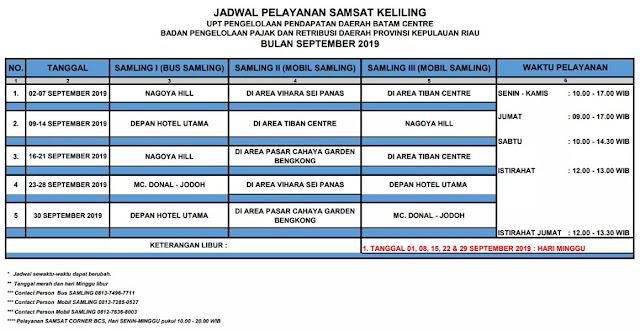 Jadwal dan Lokasi Bus Samsat Keliling Batam September 2019