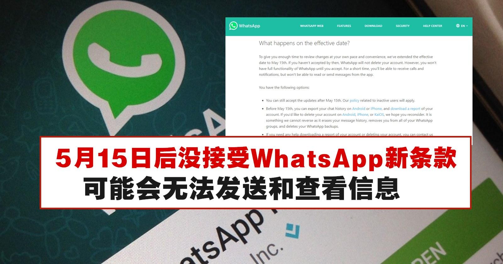 还没接受WhatsApp新隐私条款,5月15日后可能无法正常使用WhatsApp