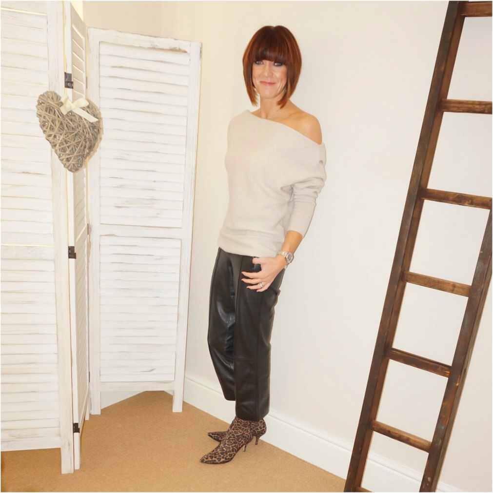 my midlife fashion, zara cashmere off the shoulder jumper, marks and spencer leather straight leg trousers, zara leopard print ankle sock boots