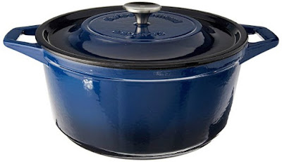 dark blue round dutch oven