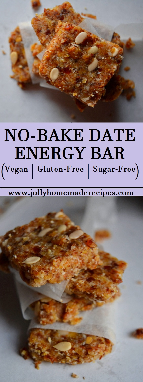 No Bake Date Energy Bar(Vegan + Gluten Free)