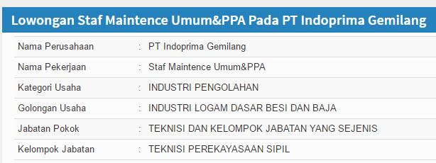 Lowongan Kerja PT Indoprima Gemilang Surabaya Terbaru Agustus 2020